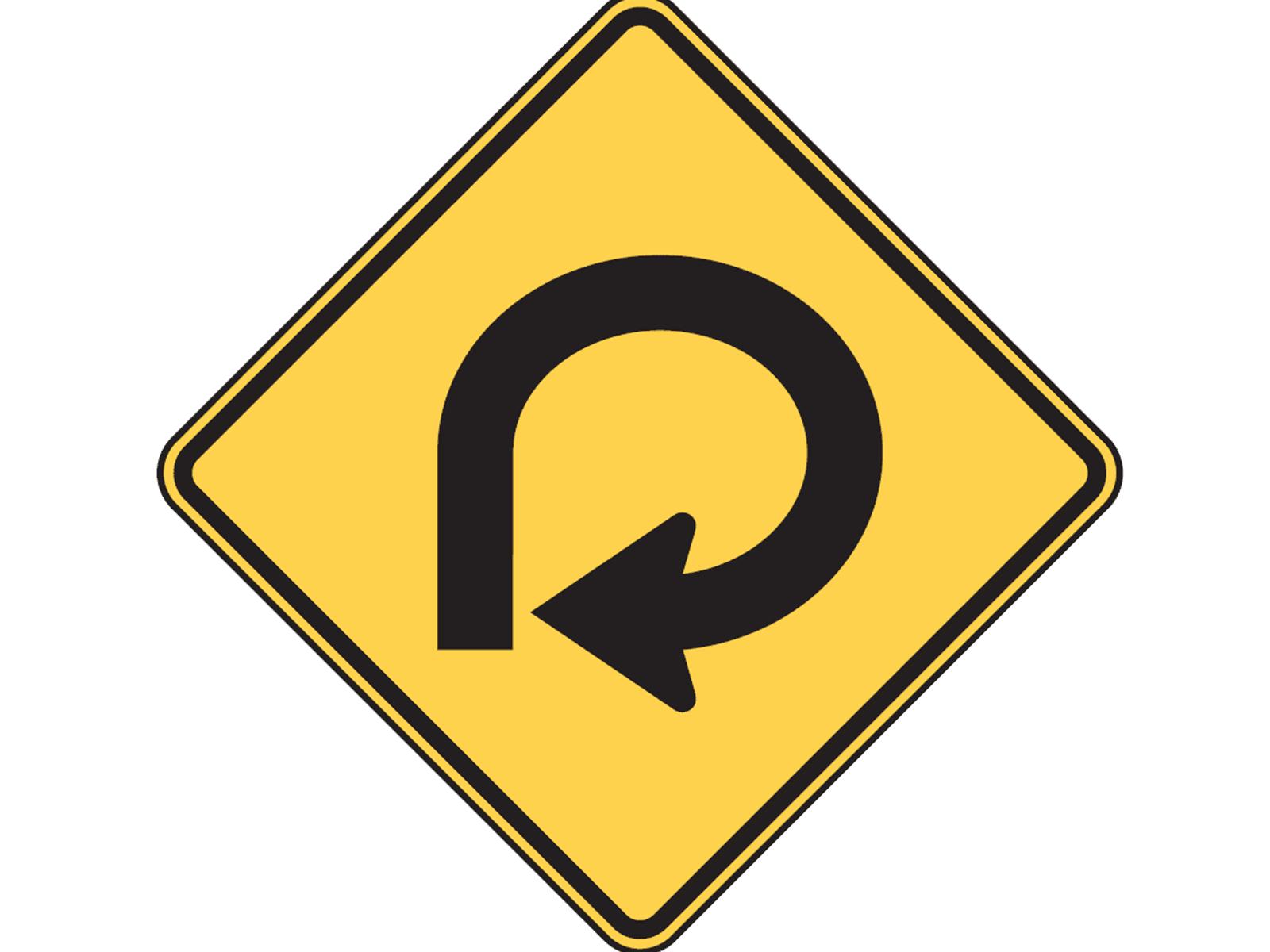 Dmv One Way Sign Degree Curve W1 15